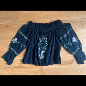 Black Flowered Embroidered Blouse